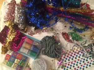 Assorted examples of glitter & sparkly stuff passed along.